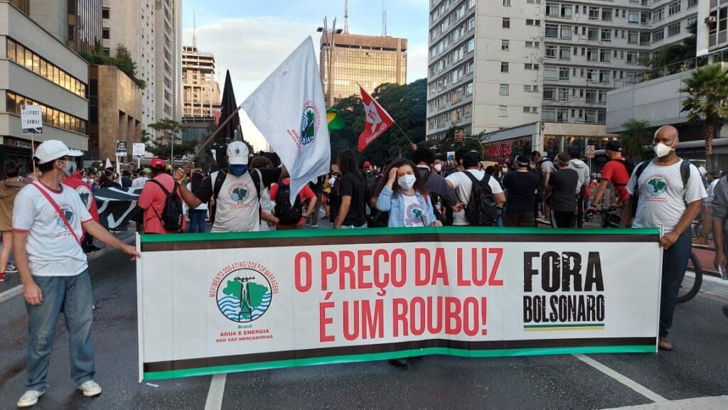 Militantes do MAB no ato em São Paulo (SP), que aconteceu na Avenida Paulista.