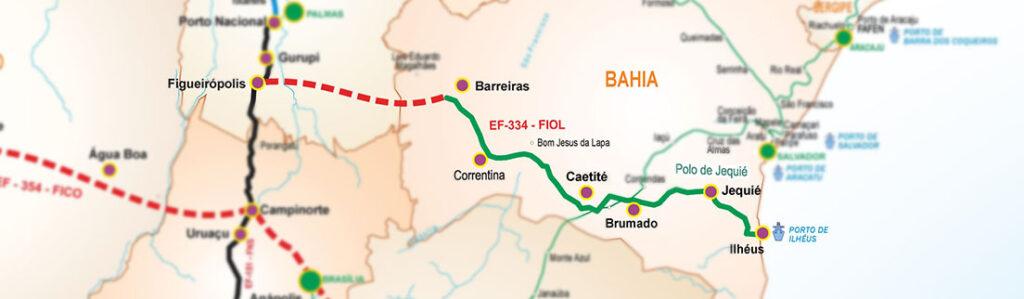 Traçado Ferrovia de Integração Oeste Leste (FIOL) ( Fonte: Valec/divulgação)