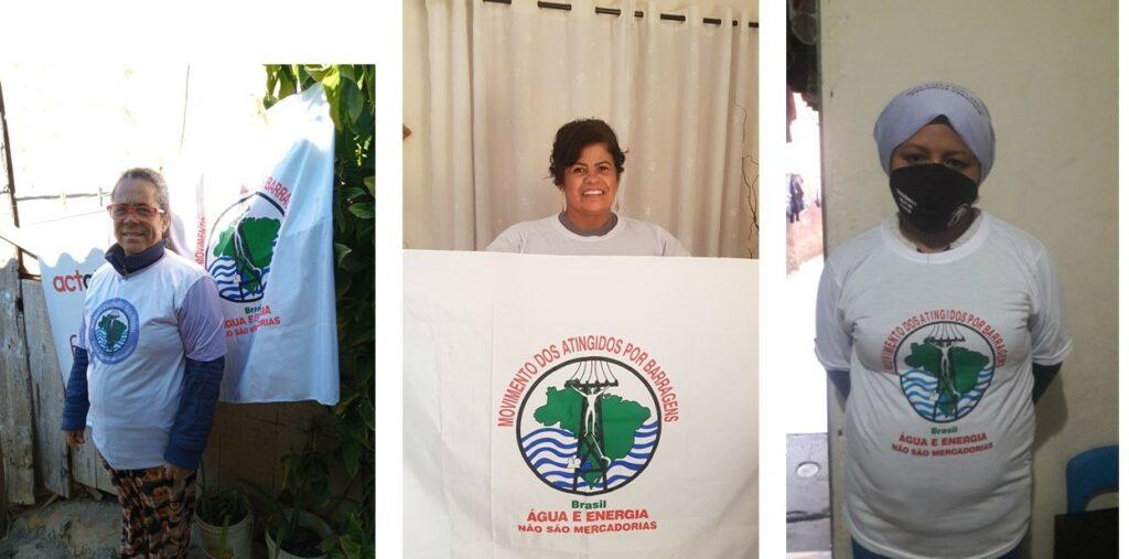 Ana Santos, moradora do Jardim das Gaivotas, Palloma Virgílio e Raquel Barbosa, de União de Vila Nova, integrantes do MAB na capital paulista, que têm recebido doação de alimentos durante a pandemia